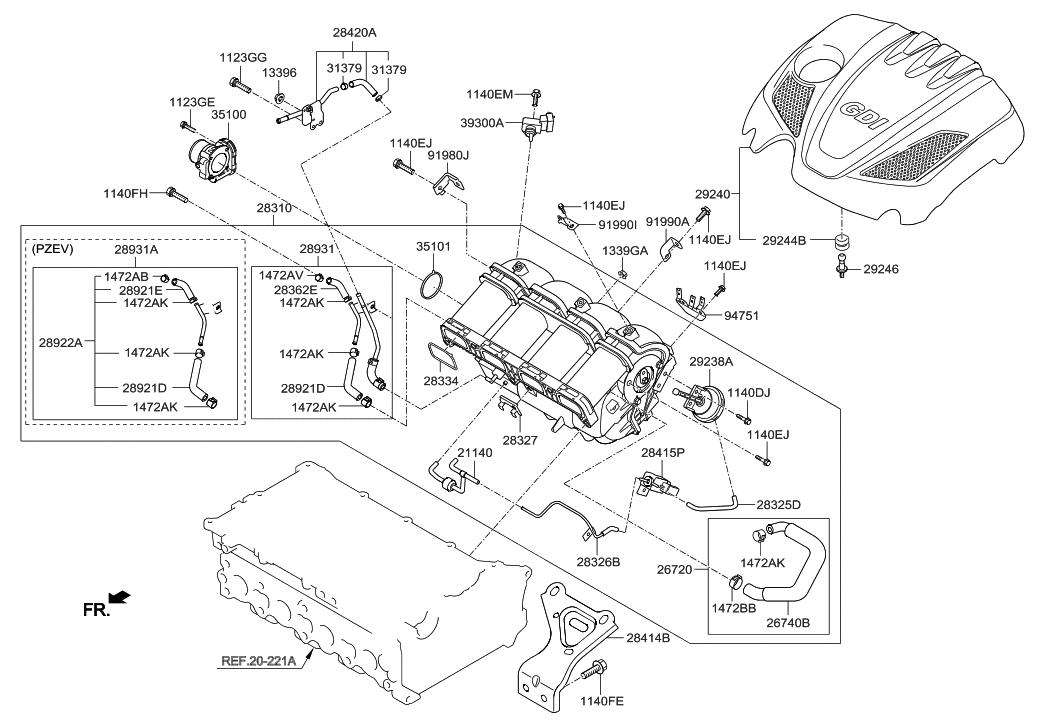 28321 2g700 genuine hyundai actuator visor rh hyundaipartsdeal com Hyundai Accent Exhaust Diagram Hyundai Accent Exhaust Diagram
