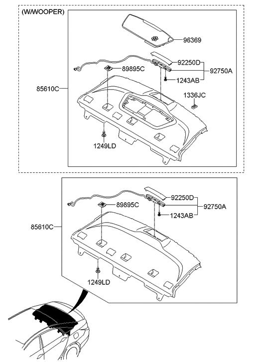 2011 Hyundai Sonata Rear Package Tray