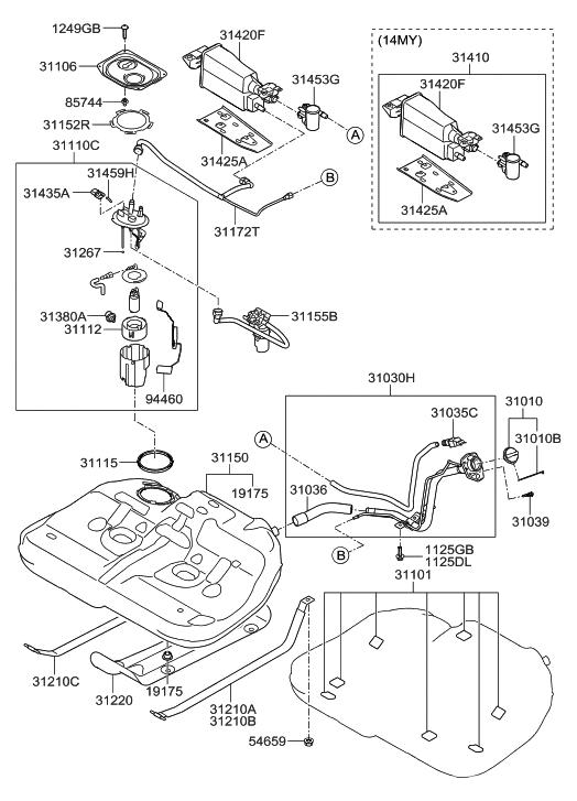 2009 hyundai evap diagrams 31420 3q600 genuine hyundai canister assembly fuel  31420 3q600 genuine hyundai canister
