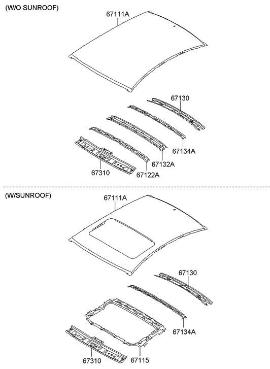 2011 hyundai sonata roof panel