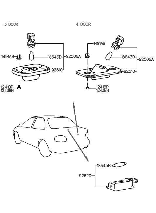1995 Hyundai Accent License Plate & Interior Lamp