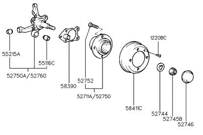 52710 22400 genuine hyundai hub assembly rear wheel rh hyundaipartsdeal com wheel hub disassembly truck wheel hub diagram