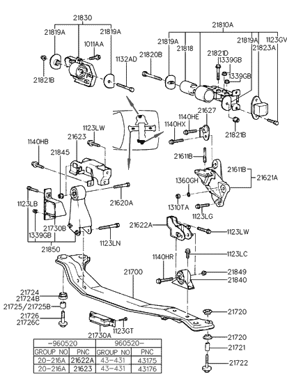 1997 Hyundai Accent Engine & Transaxle Mounting