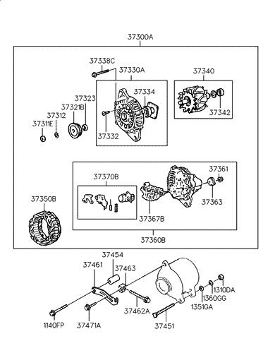 Genuine Hyundai 37350-22200 Generator Stator Assembly