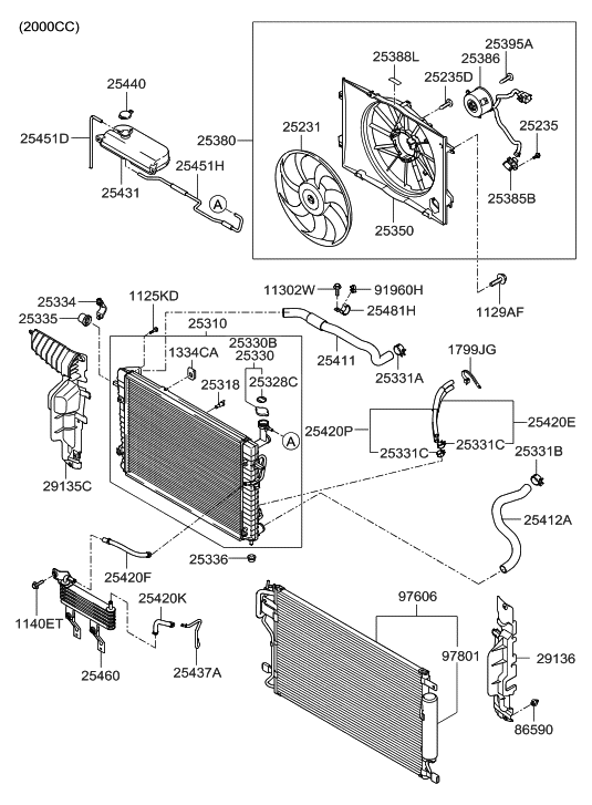25386 1f383 genuine hyundai motor radiator cooling fan 2004 hyundai accent engine diagram 2009 hyundai tucson old body style engine cooling system