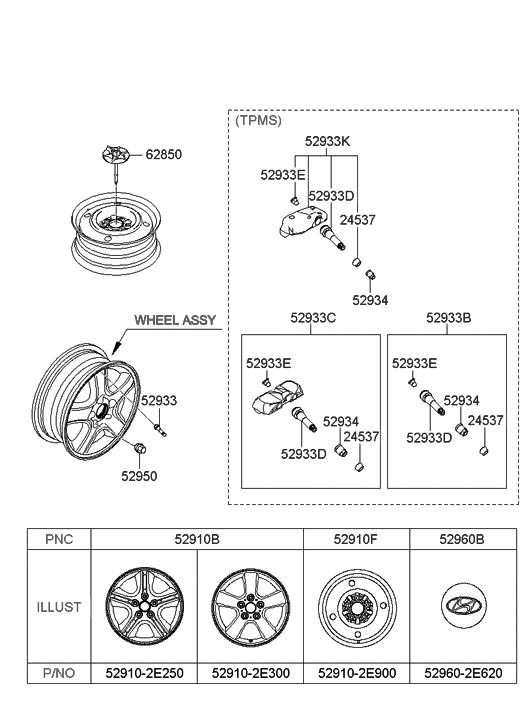 52910 2e300 genuine hyundai wheel assembly aluminium. Black Bedroom Furniture Sets. Home Design Ideas