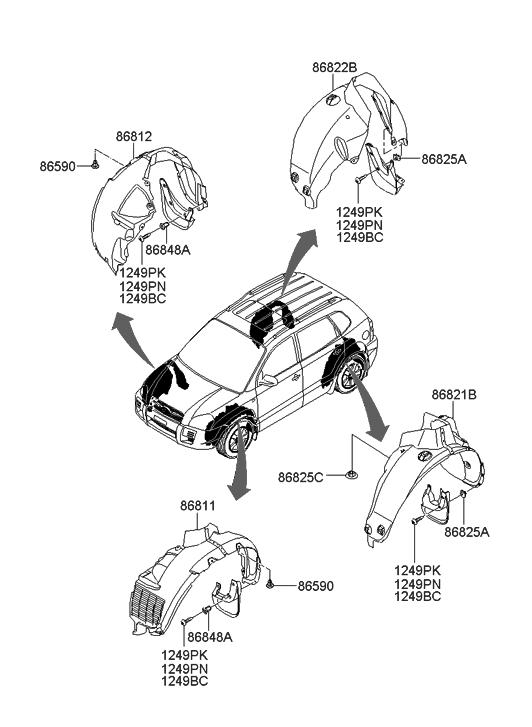 2006 Hyundai Tucson Produced After OCT.31.2006 Wheel Guard