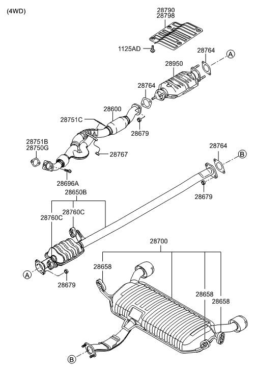 28950 37850 genuine hyundai converter assembly catalytic rh hyundaipartsdeal com 2005 hyundai accent exhaust system diagram 2005 hyundai elantra exhaust system diagram