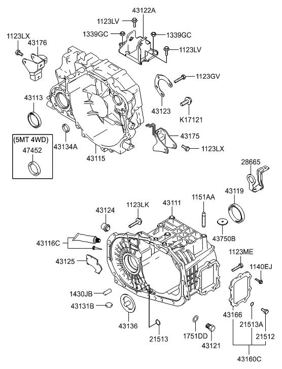 2007 hyundai tucson transaxle case manual hyundai parts deal. Black Bedroom Furniture Sets. Home Design Ideas