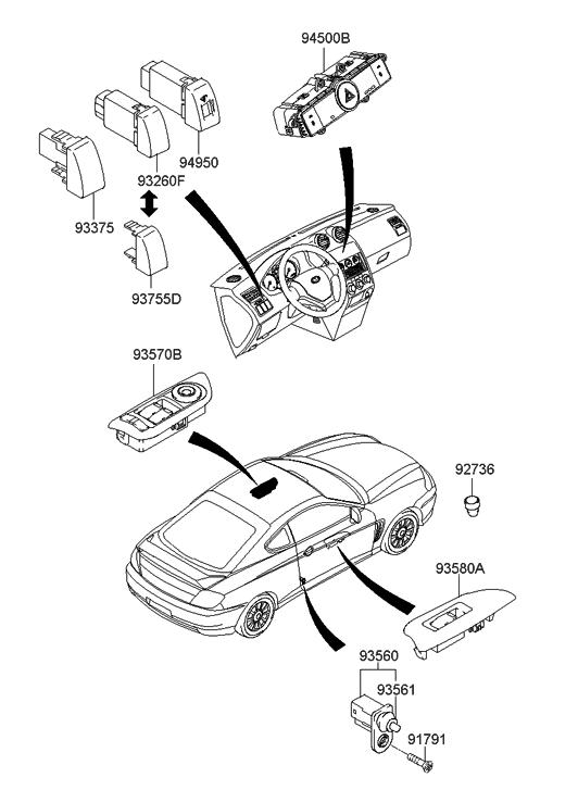 2007 Hyundai Tiburon Switch Hyundai Parts Deal