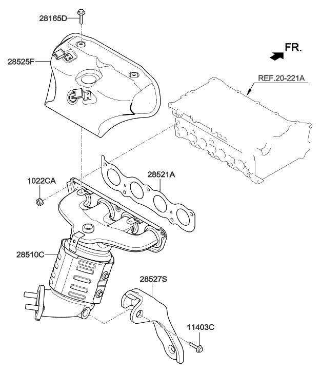 28510 2e350 Genuine Hyundai Manifold Catalytic Assembly