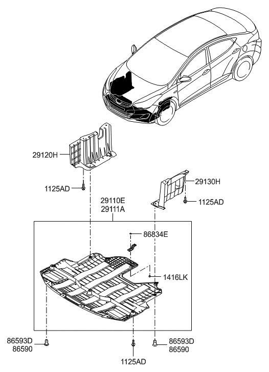 29110-3X800 - Genuine Hyundai PANEL-UNDER COVER FRONT