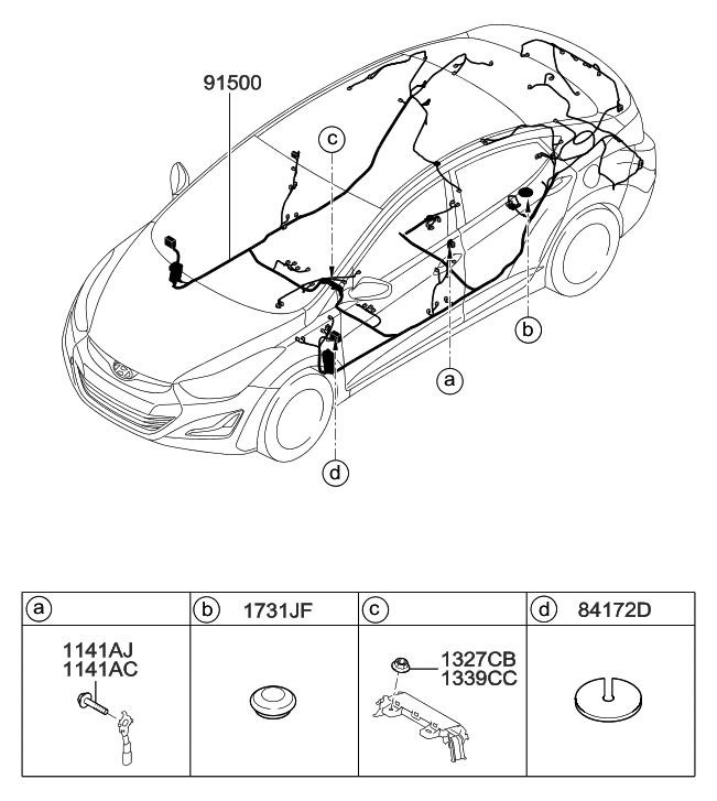 2015 Hyundai Elantra Korean made Floor Wiring