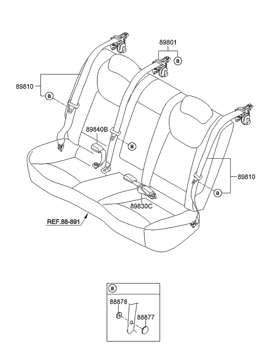 2015 Hyundai Elantra Korean made Rear Seat Belt