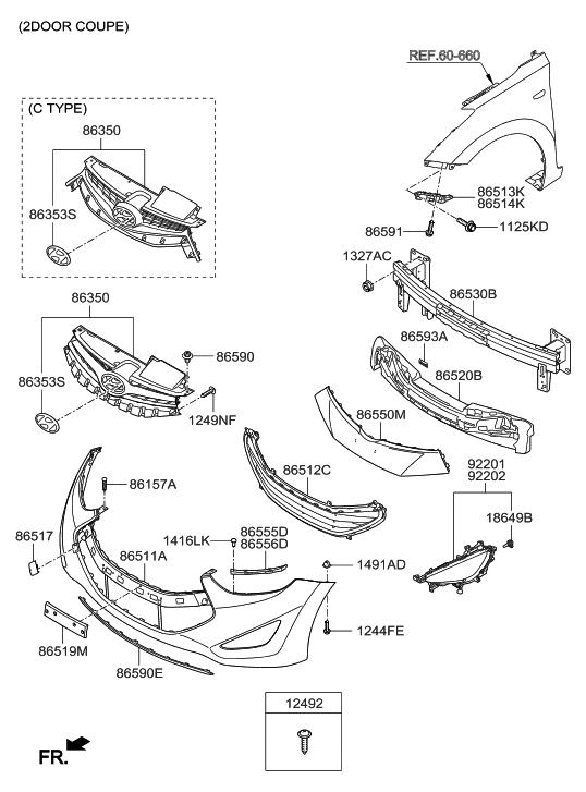 Hyundai Elantra Front Bumper Parts Diagram. Hyundai. Auto