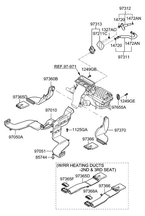 2008 Hyundai Santa Fe Heater System-Duct & Hose
