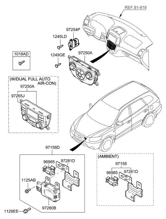 2008 Hyundai Santa Fe Heater System-Heater Control