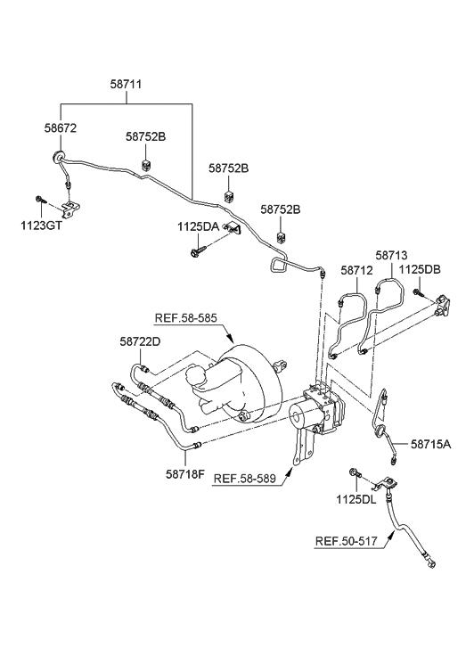 2009 Hyundai Santa Fe Old Body Style Brake Fluid Line