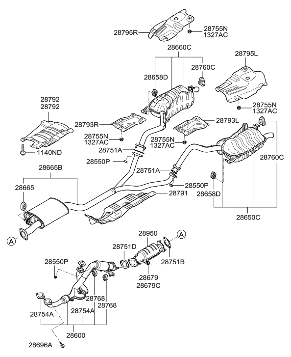 2008 hyundai santa fe muffler & exhaust pipe hyundai parts deal  front exhaust pipe diagram labeled #4