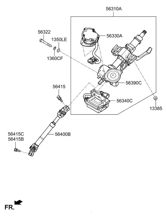 2015 Hyundai Tucson Gas Steering Column & Shaft