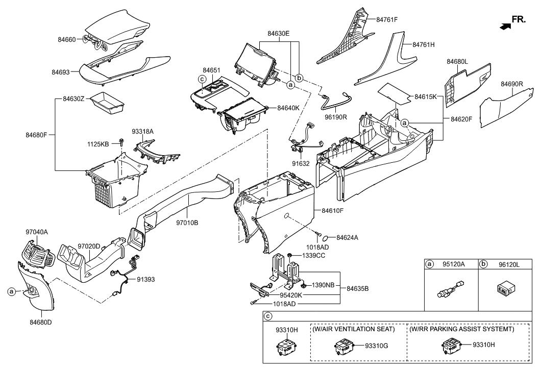 2011 hyundai azera console hyundai parts deal. Black Bedroom Furniture Sets. Home Design Ideas
