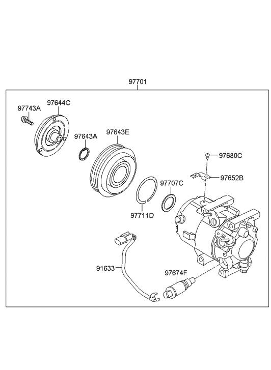 97723 3r000 Genuine Hyundai Wiring Assembly Compressor