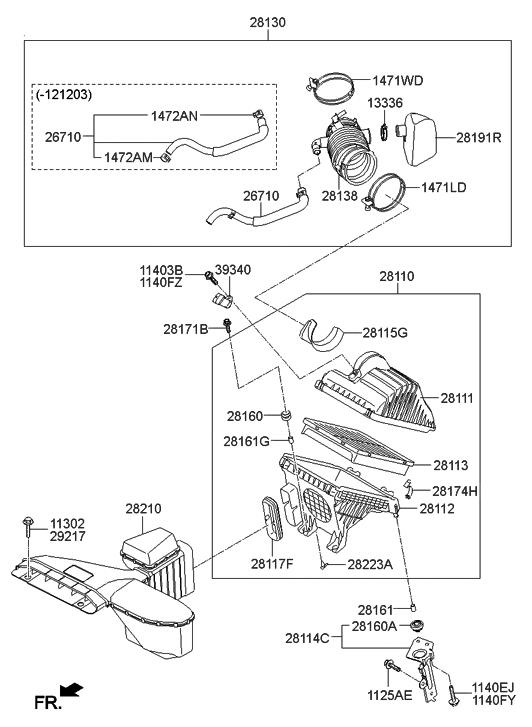 28113 2p100 genuine hyundai filter air cleaner rh hyundaipartsdeal com Jet Engine Diagram Simple Engine Diagram