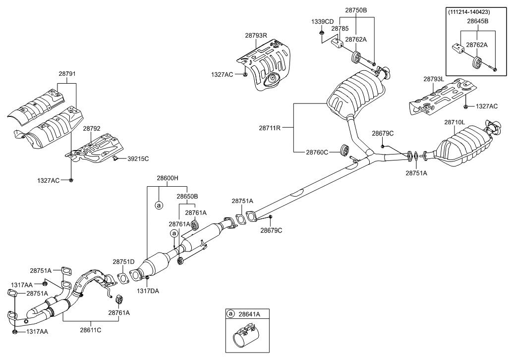 2013 hyundai azera muffler exhaust pipe hyundai parts deal rh hyundaipartsdeal com Basic Engine Diagram Engine Block Diagram