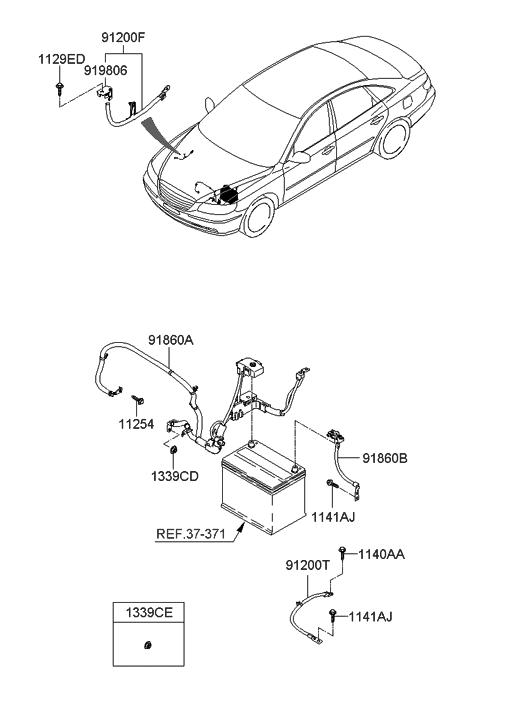 2006 Hyundai Azera Produced Before OCT.30.2006 Battery Wiring hyundai santa fe wiring diagrams free Hyundai Parts