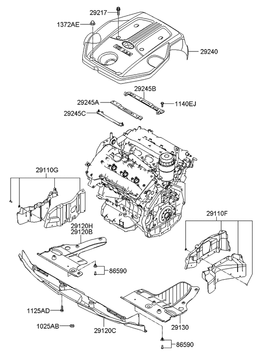 29130 3k300 genuine hyundai cover engine under lh rh hyundaipartsdeal com  2013 hyundai azera engine diagram