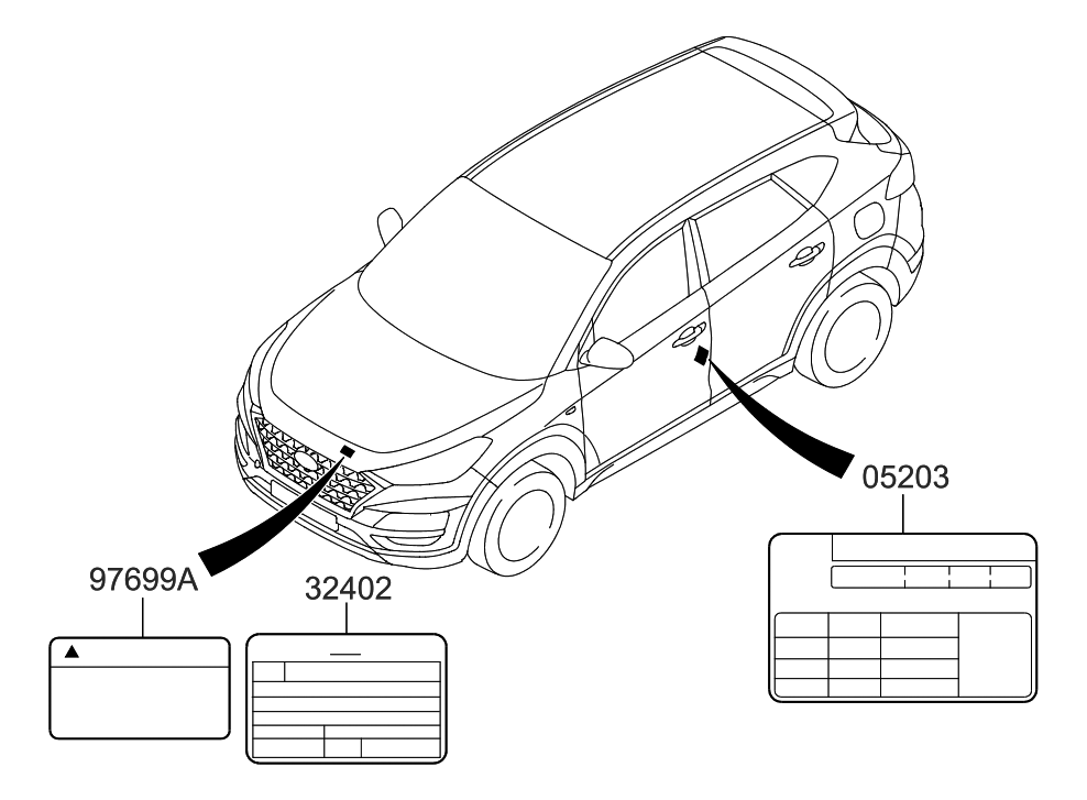 Hyundai 32402-2ETB7 on car diagram without labels, car diagram with titles, car drawing with labels, car parts with labels, car model with labels, motor car with labels, car diagram with parts labeled,