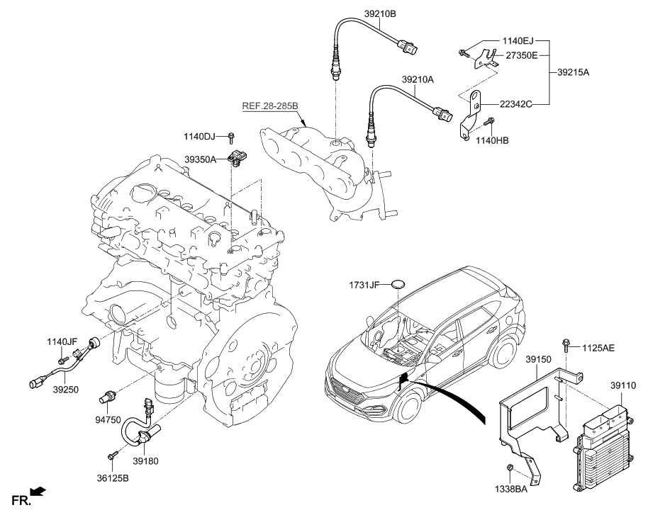 Hyundai Tucson 2 7 Engine Diagram