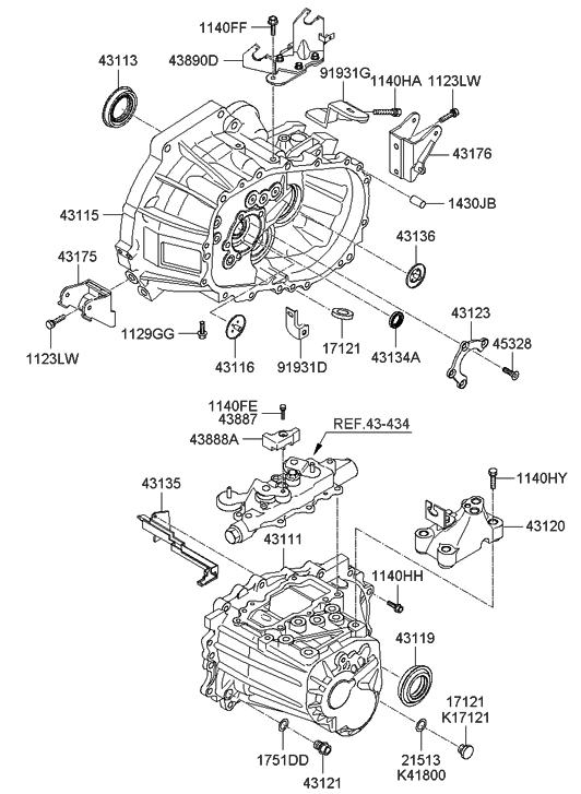 2005 Hyundai Accent New Body Style Transaxle Case (MTA)