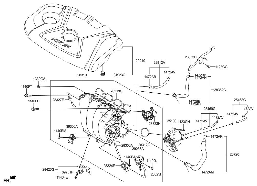 2015 Hyundai Elantra Us Alabama Made Intake Manifold