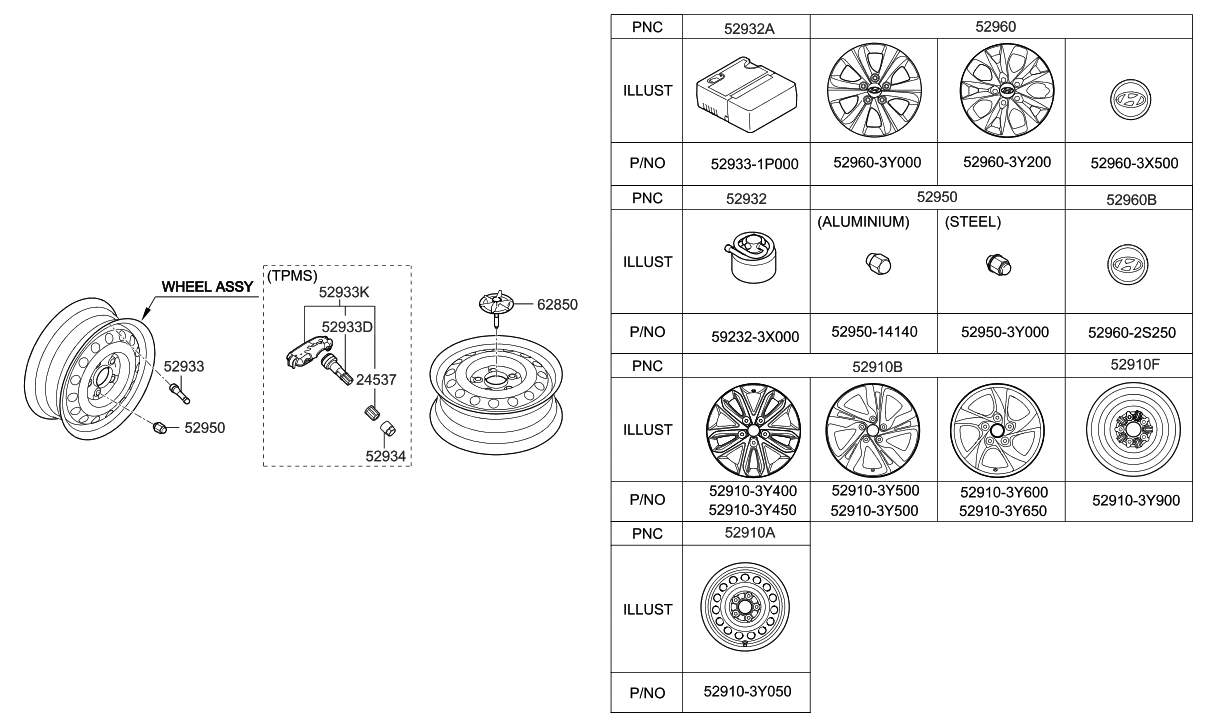 52910 3y450 Genuine Hyundai Wheel Assembly Aluminium