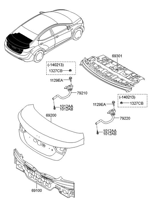 2015 Hyundai Elantra Us Alabama Made Back Panel Amp Trunk Lid