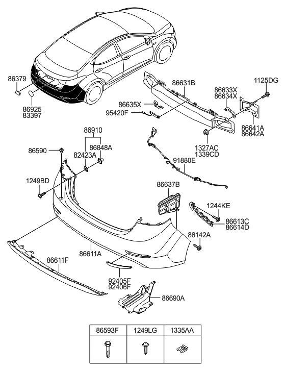 86611 3y700 Genuine Hyundai Cover Rear Bumper