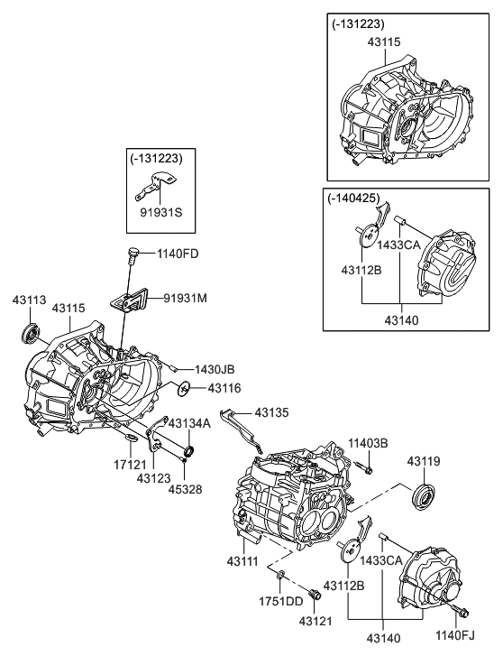 2014 Hyundai Accent Transaxle Case-manual