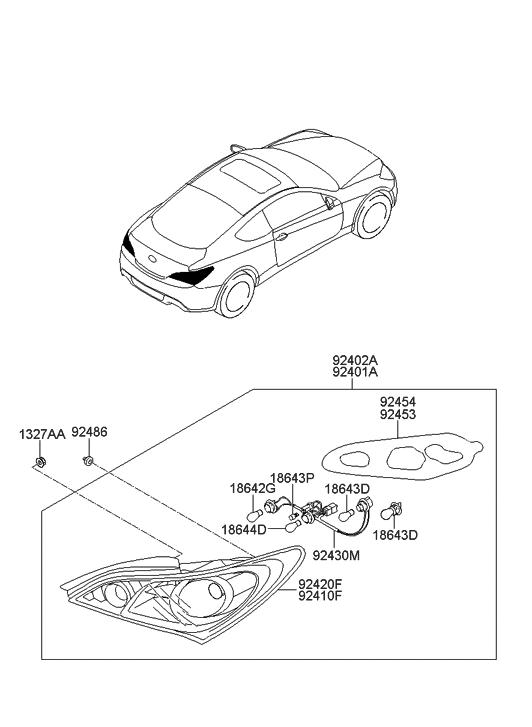 92402 2m050 Genuine Hyundai Lamp Assembly Rear