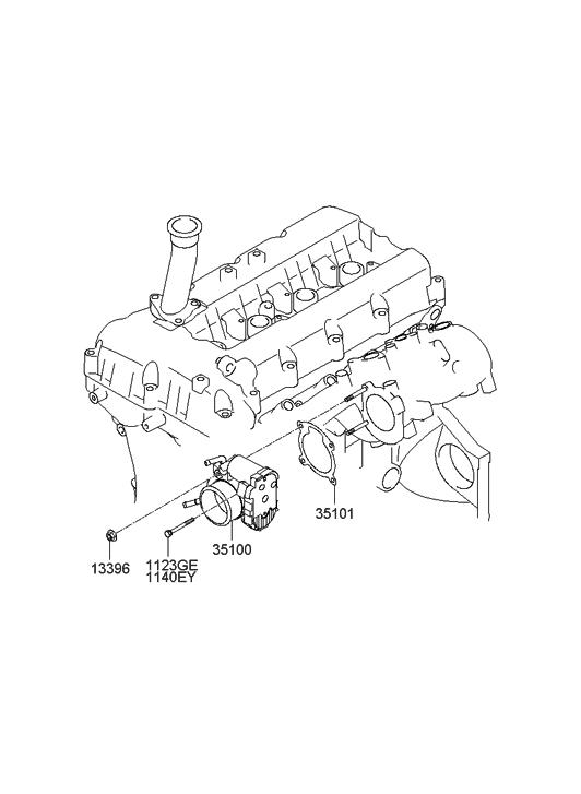35100 2c300 Genuine Hyundai Body Assembly Throttle