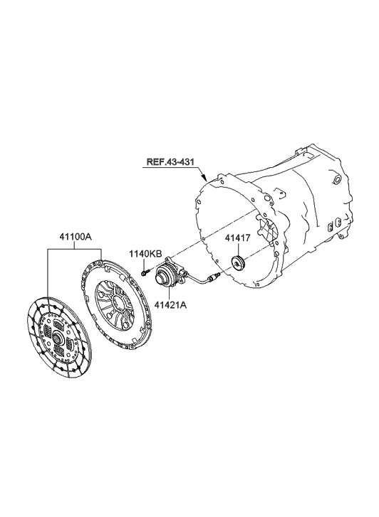 2010 Hyundai Genesis Coupe Clutch & Release Fork