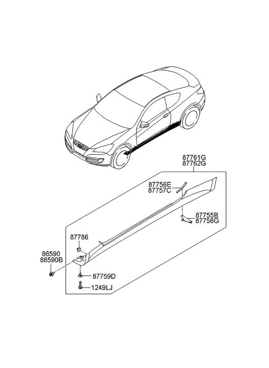 2011 Hyundai Genesis Coupe Body Side Moulding