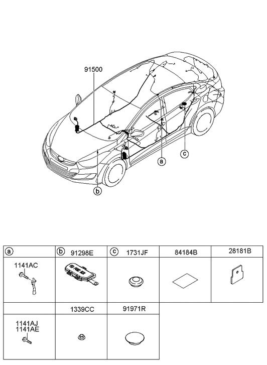 2013 Hyundai Elantra Korean Made Floor Wiring