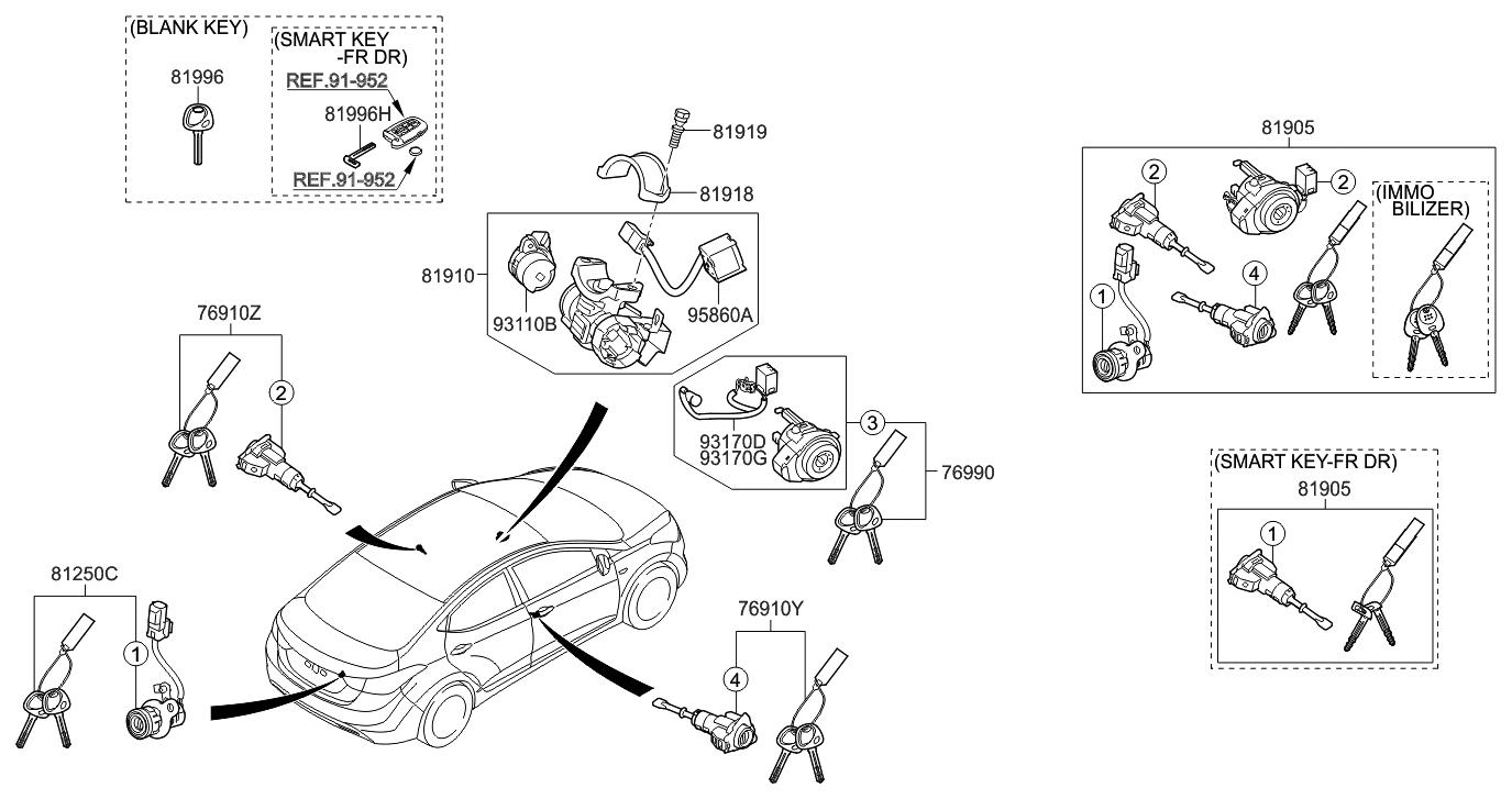 81996 2m000 Genuine Hyundai Key Blanking 2011 Elantra Engine Diagram Korean Made Cylinder Set