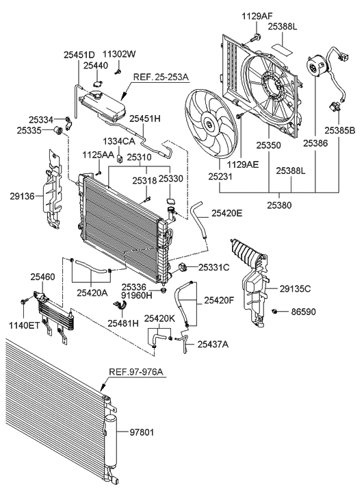 25310 2e400 genuine hyundai radiator assembly. Black Bedroom Furniture Sets. Home Design Ideas