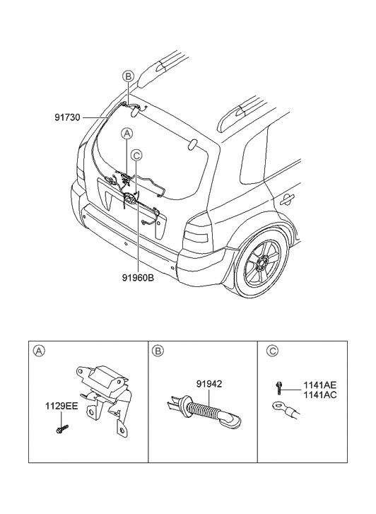2005 Hyundai Tucson Trunk Lid Wiring - Hyundai Parts Deal on electrical wiring diagram 2005 dodge ram, repair manual 2005 hyundai tucson, fuse diagram 2005 hyundai tucson,