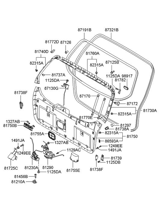 2005 hyundai tucson trim tail gate hyundai parts deal. Black Bedroom Furniture Sets. Home Design Ideas