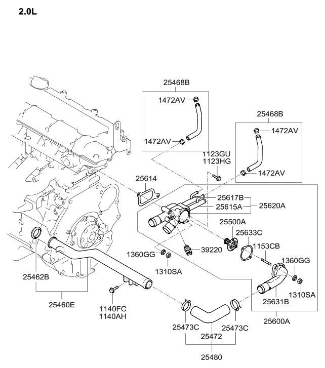 2005 hyundai tucson coolant hose & pipe hyundai parts deal azera engine diagram 2005 hyundai tucson coolant hose & pipe thumbnail 1