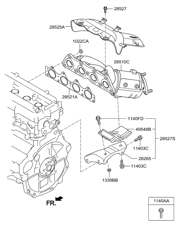 2011 hyundai accent exhaust parts