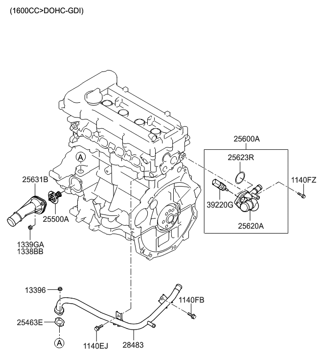 2012 hyundai veloster coolant pipe & hose - thumbnail 1